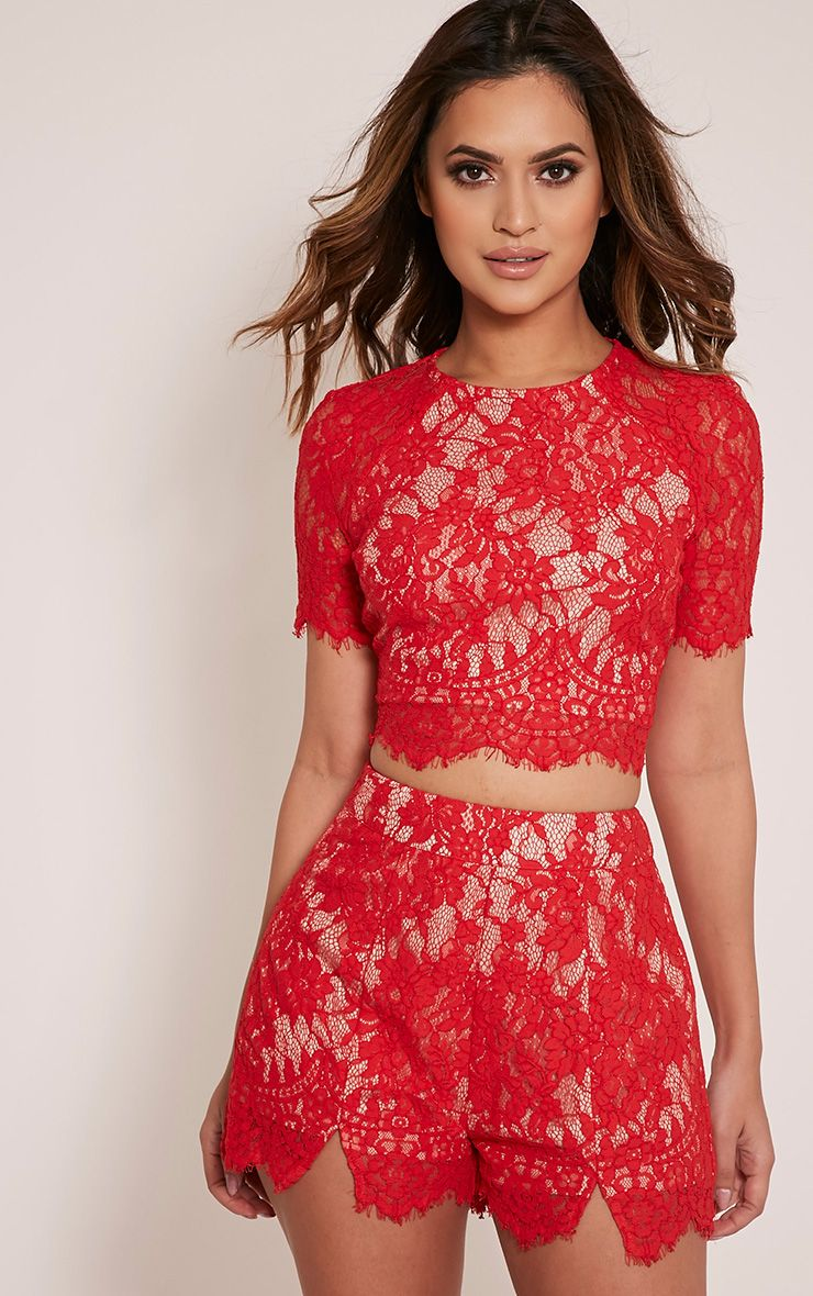 Ellena Red Lace Shorts