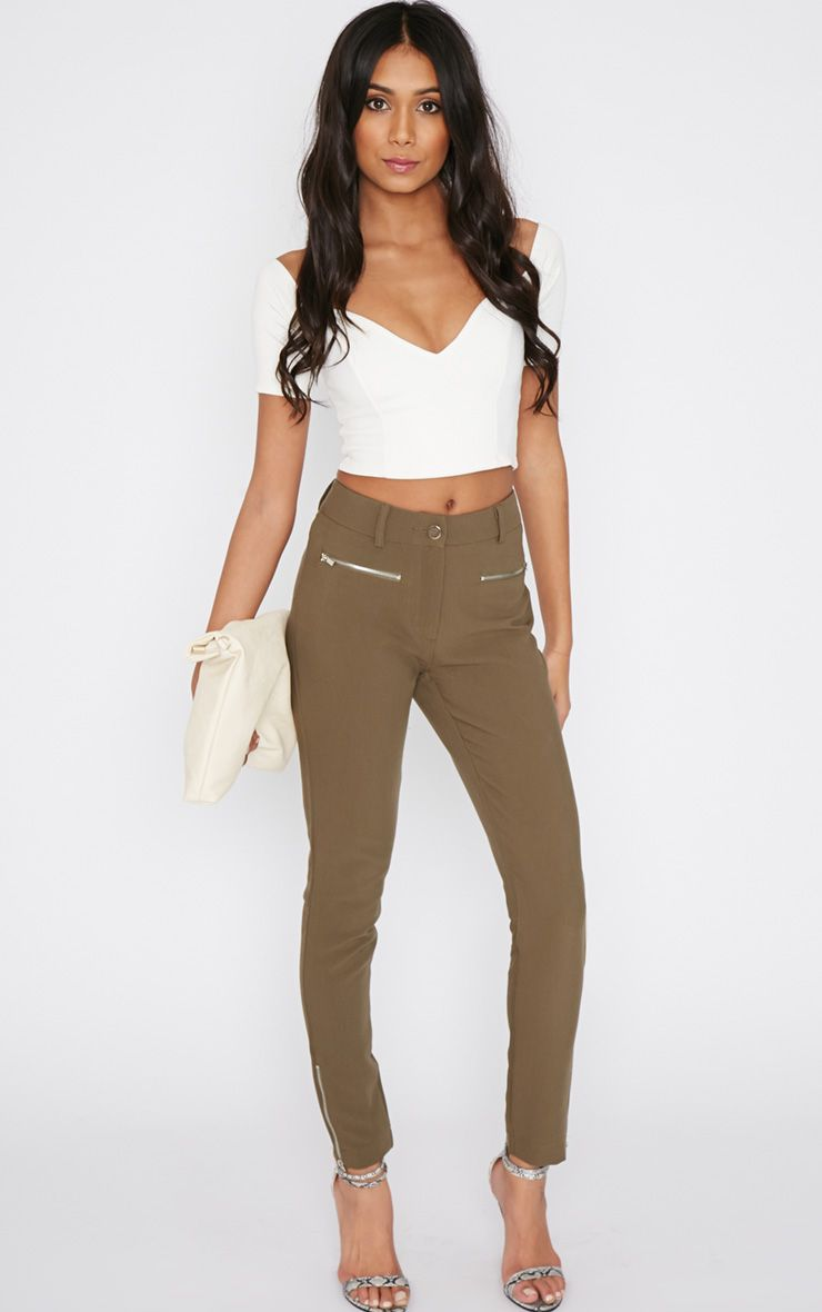 Larisa Khaki Zip Cigarette Trouser  1