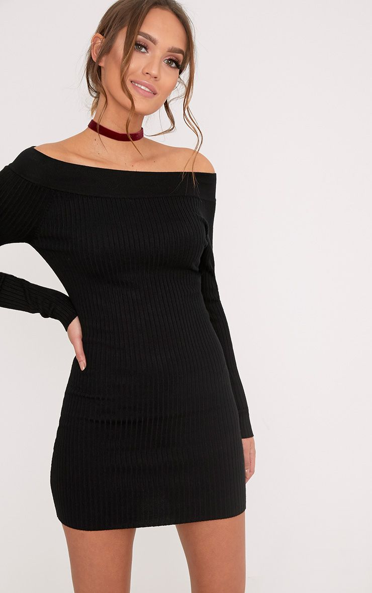 Lidia Black Fine Rib Bardot Knitted Dress
