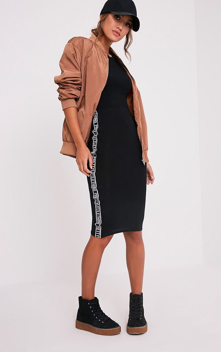 PrettyLittleThing Side Panel Black Midi Skirt