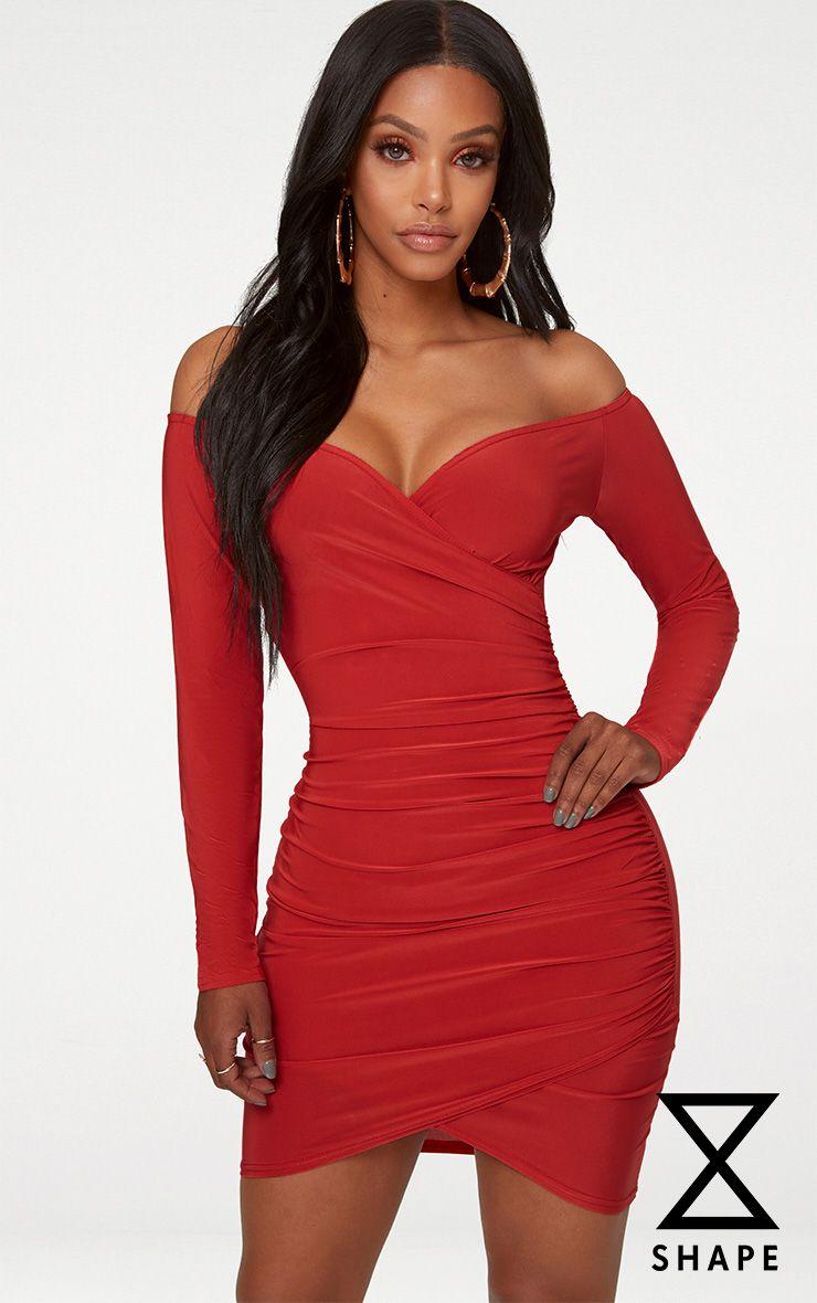 Shape Red Slinky Ruched Detail Bardot Dress 1