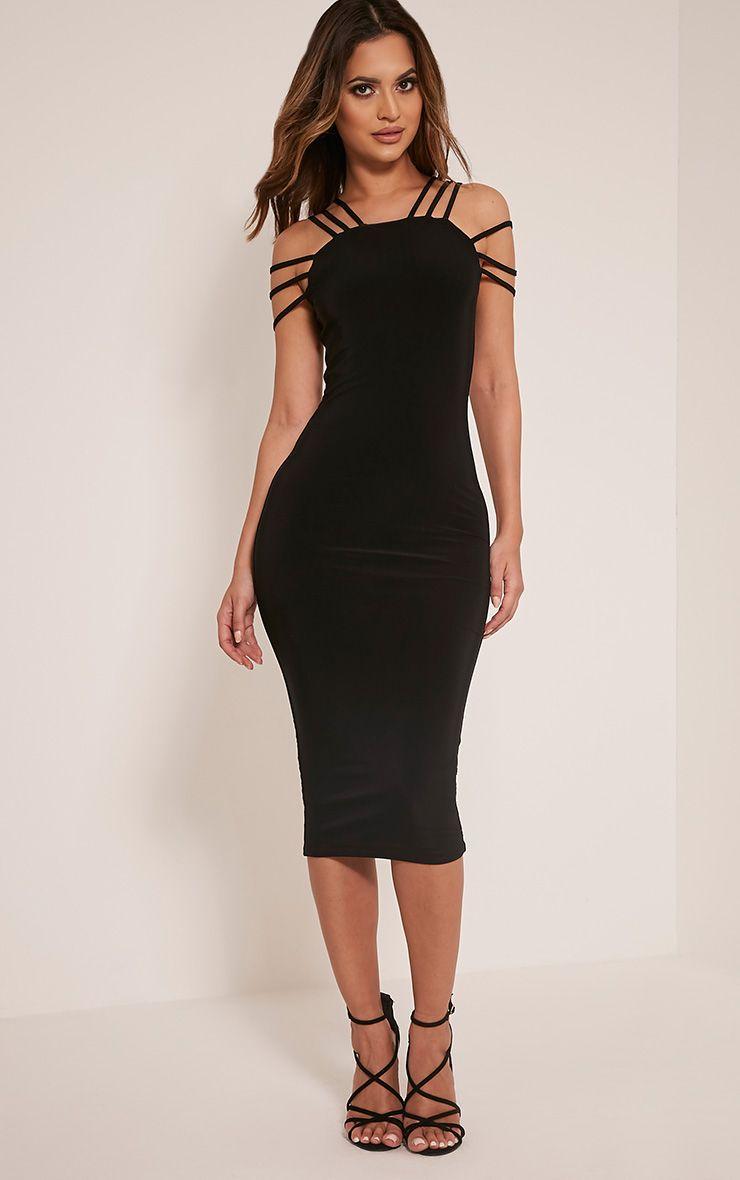 Kellia Black Multi Strap Detail Midi Dress 1
