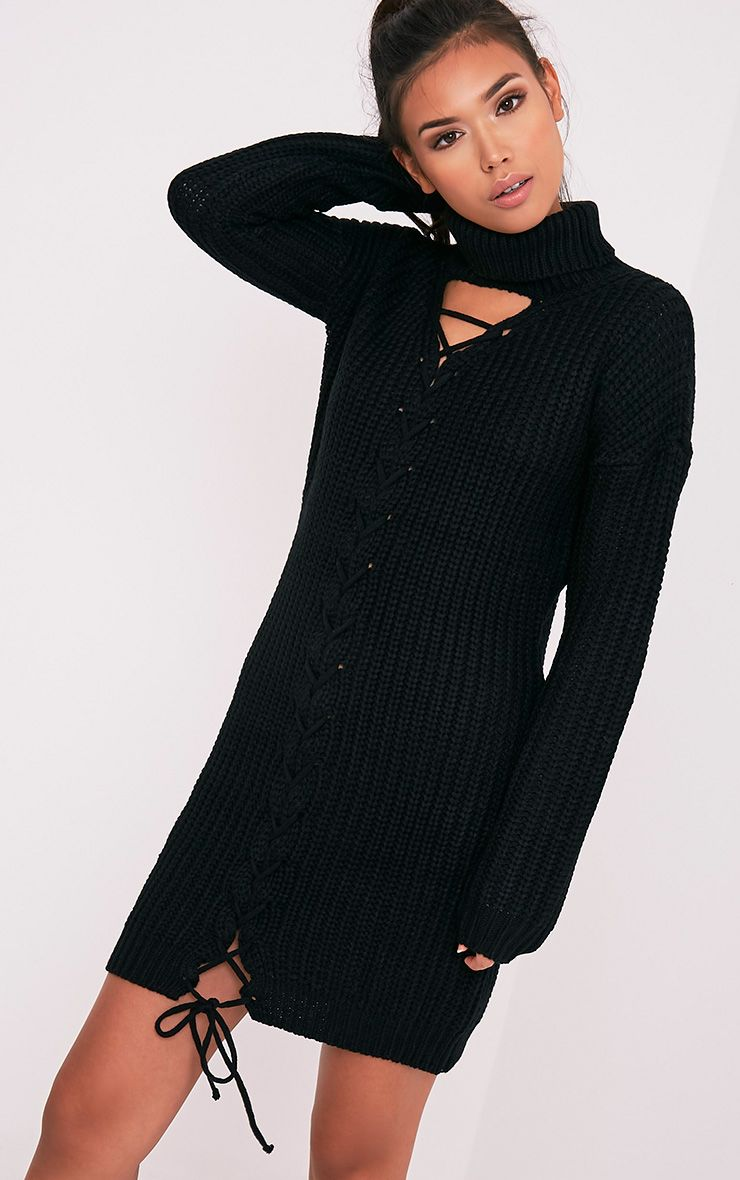 Josalinda Black Knitted Front Tie detail Roll Neck Dress 1