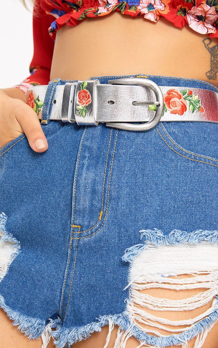 Silver Floral Embroidered Belt