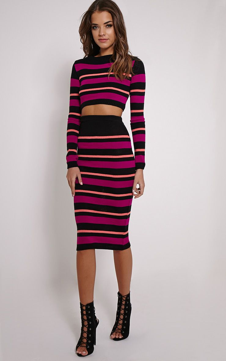 Aurora Purple Stripe Knitted Midi Skirt 1
