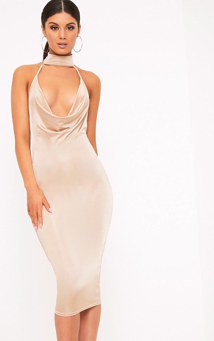 Jaylani Nude Slinky Cowl Neck Midi Dress