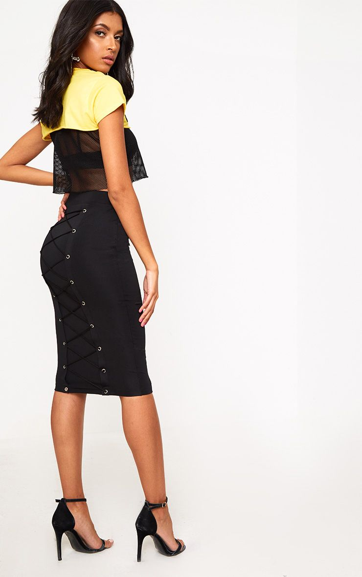 Black Corset Back Midi Skirt