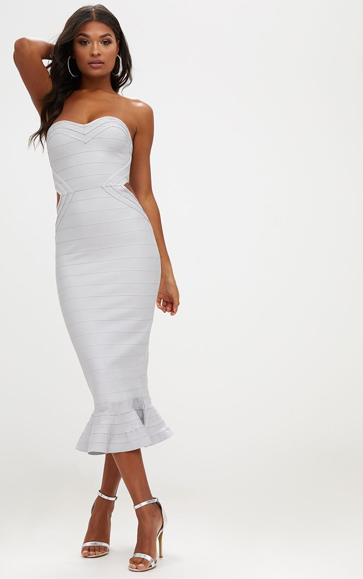 Ice Grey Ribbed Frill Hem Bandage Midi Dress