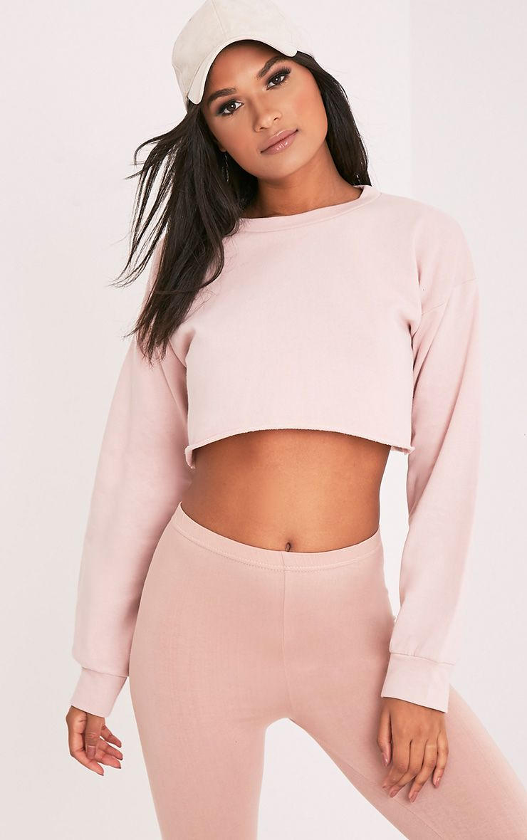 Beau Pink Cut Off Crop Longsleeve Sweater