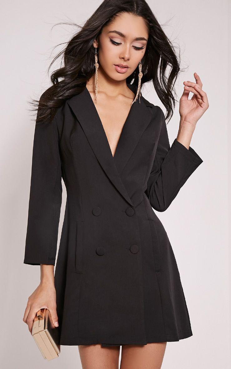 Tobyn Black Double Breasted Blazer Dress 1