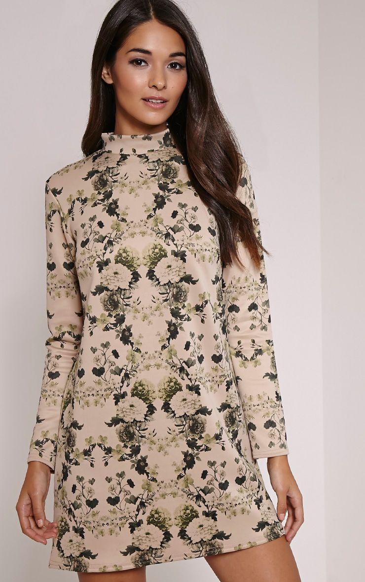 Lanie Khaki Floral Print A-Line Dress 1