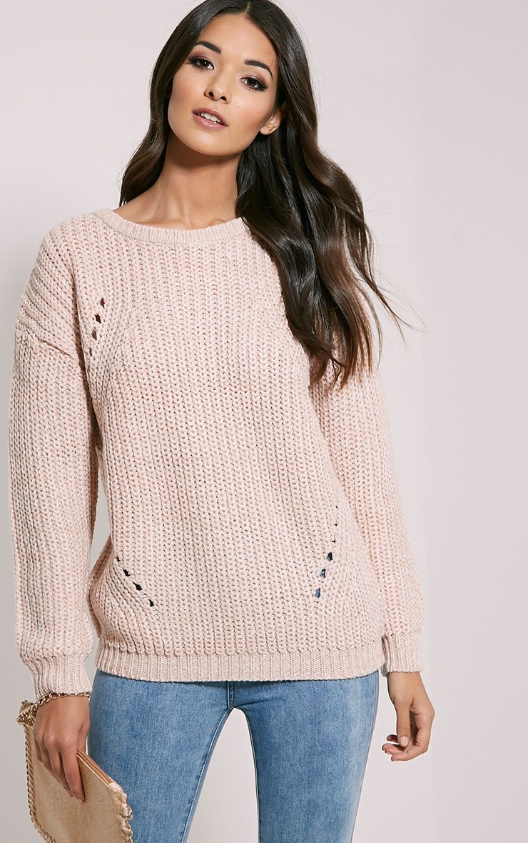 Frida Pale Pink Heavy Weight Knitted Jumper 1
