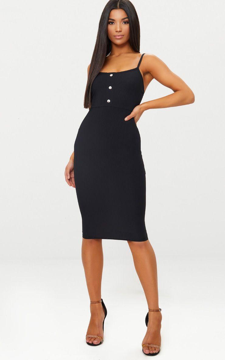 Black Strappy Popper Detail Midi Dress