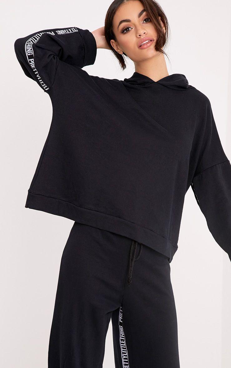PrettyLittleThing Branded Black Oversized Hoodie