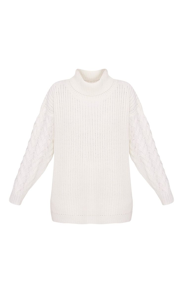 Finolla Cream Oversized Cable Knit Sleeve Jumper 3
