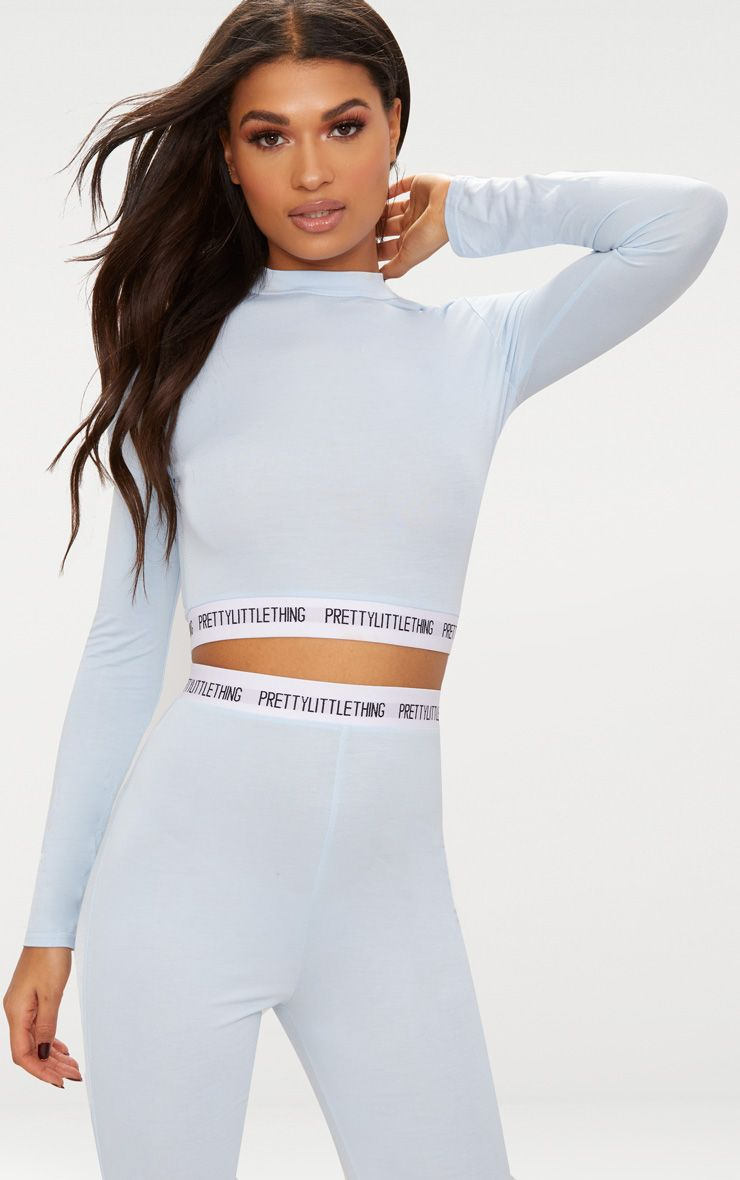 baby blue prettylittlething branded high neck crop top