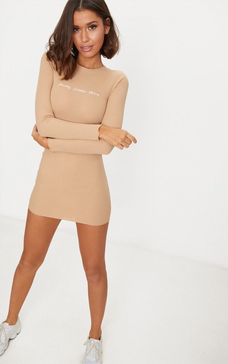 Stone PrettyLittleThing Embroidered Ribbed Bodycon Dress