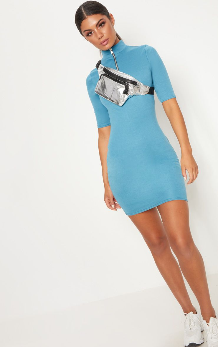 Mineral Blue Zip Detail Bodycon Dress