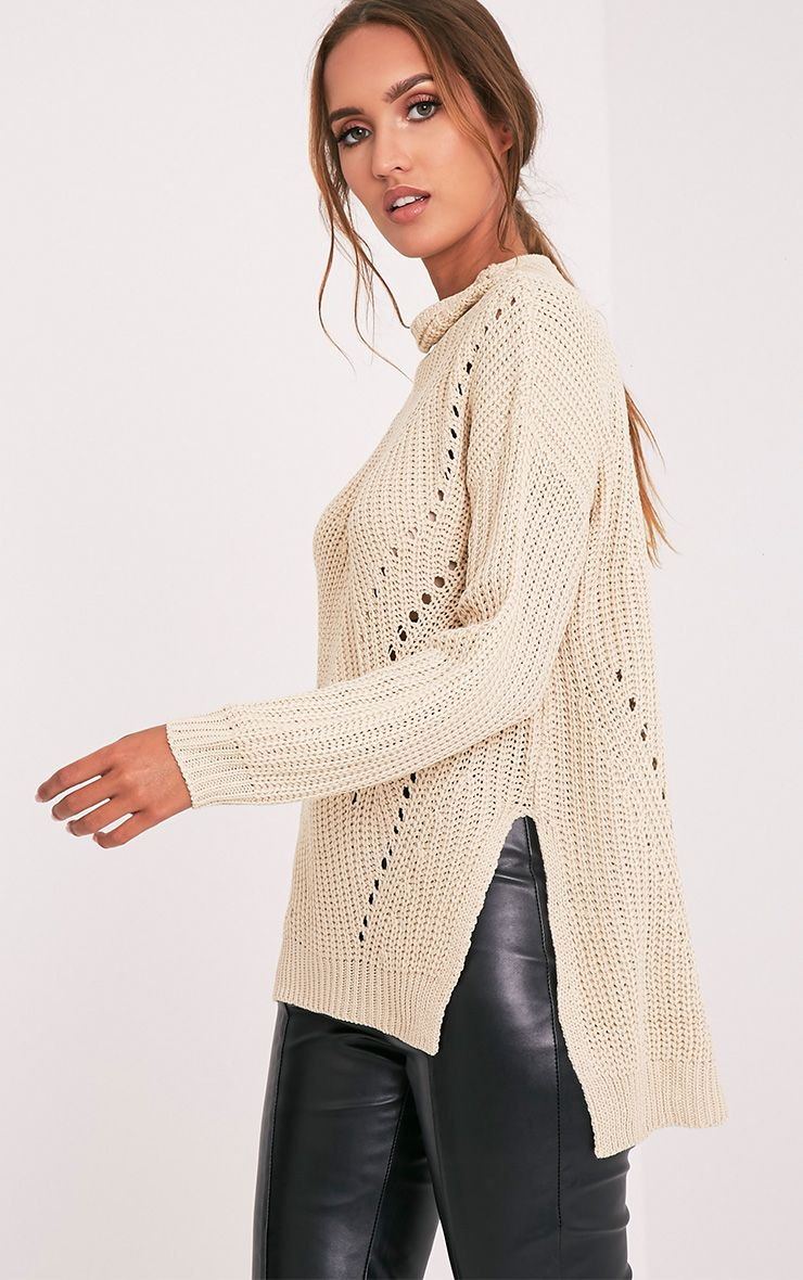 Tawana Beige Drop Hem Open Knit Jumper 1