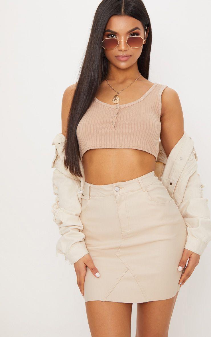 Coated Stone Denim Mini Skirt