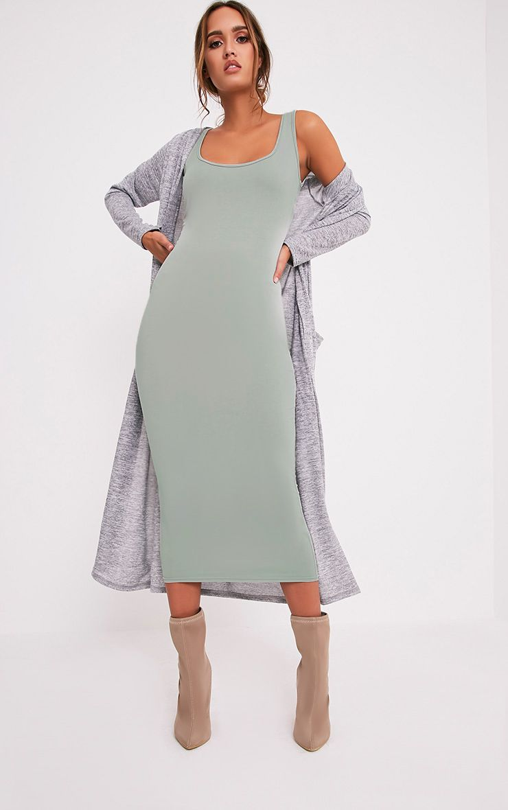 Mirah Sage Green Scoop Neck Midaxi Dress 1