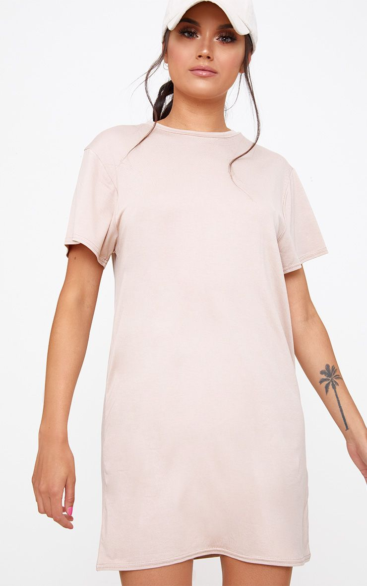Basic Nude Short Sleeve T Shirt Dress