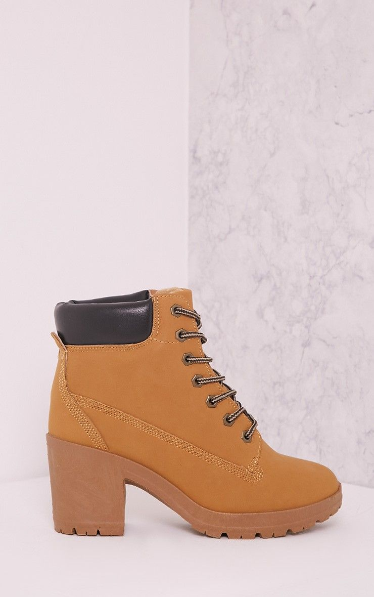 Mallie Tan Lace Up Heeled Ankle Boots 1