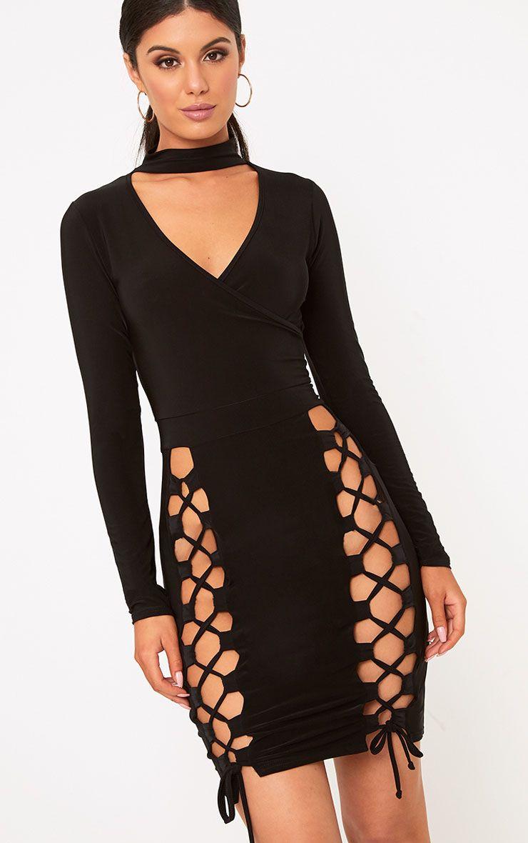 Elaina Black Thigh Lace Up Bodycon Dress
