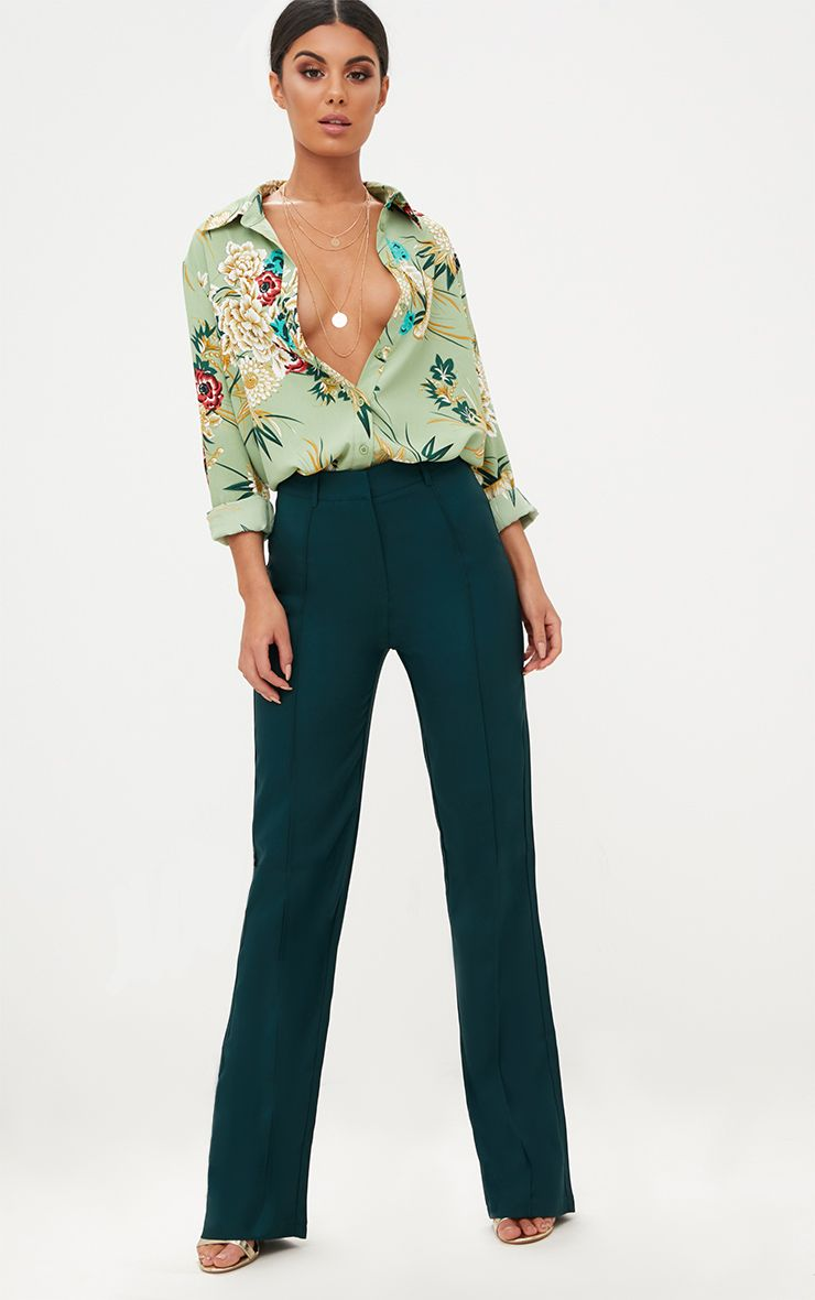 Emerald Green High Waisted Straight Leg Trousers
