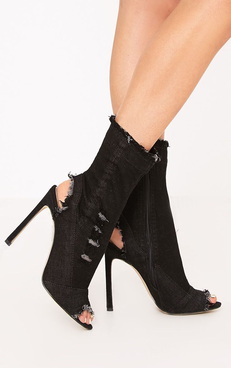 Meganna Black Ripped Denim Cut Out Ankle Boots