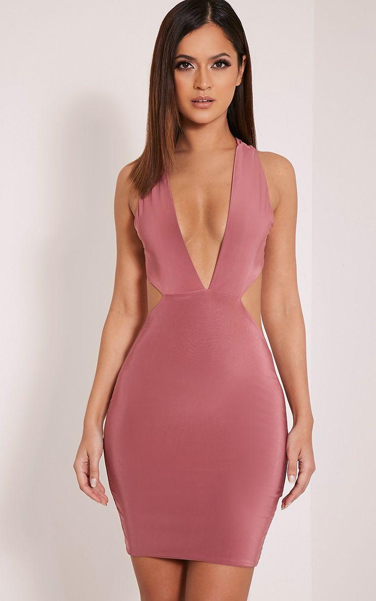 Biddy Rose Deep V Plunge Bodycon Dress 1