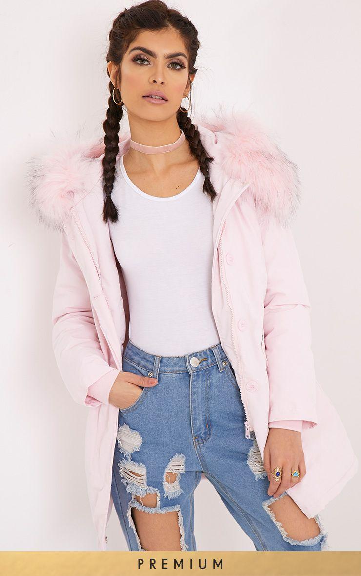 Maren Baby Pink Premium Faux Fur Lined Parka