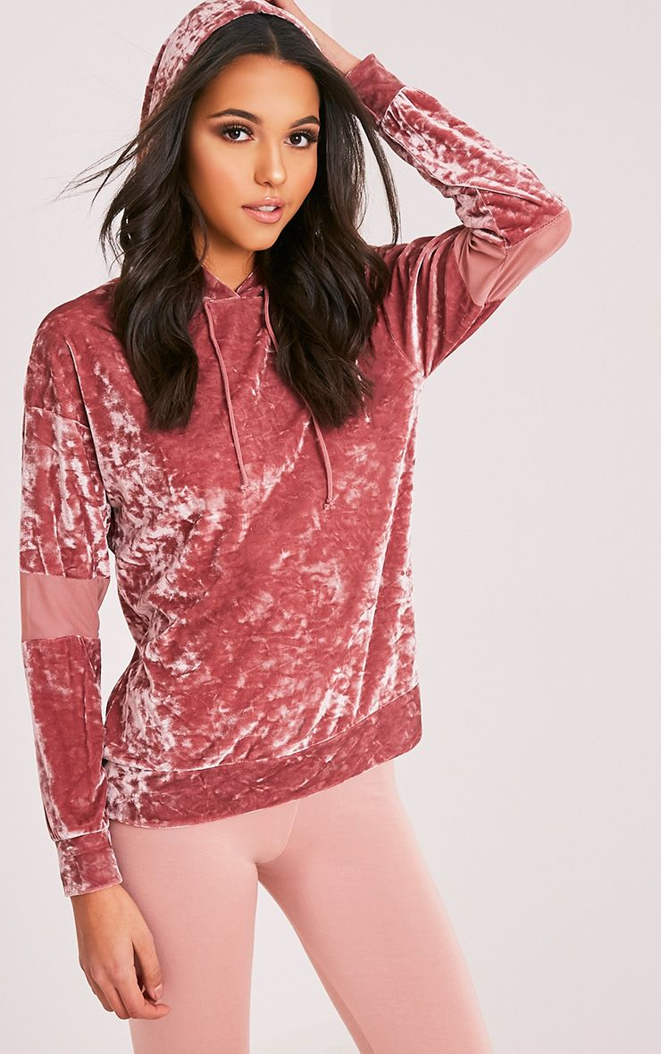 Arlo Dusty Pink Crushed Velvet Mesh Sleeve Hoody