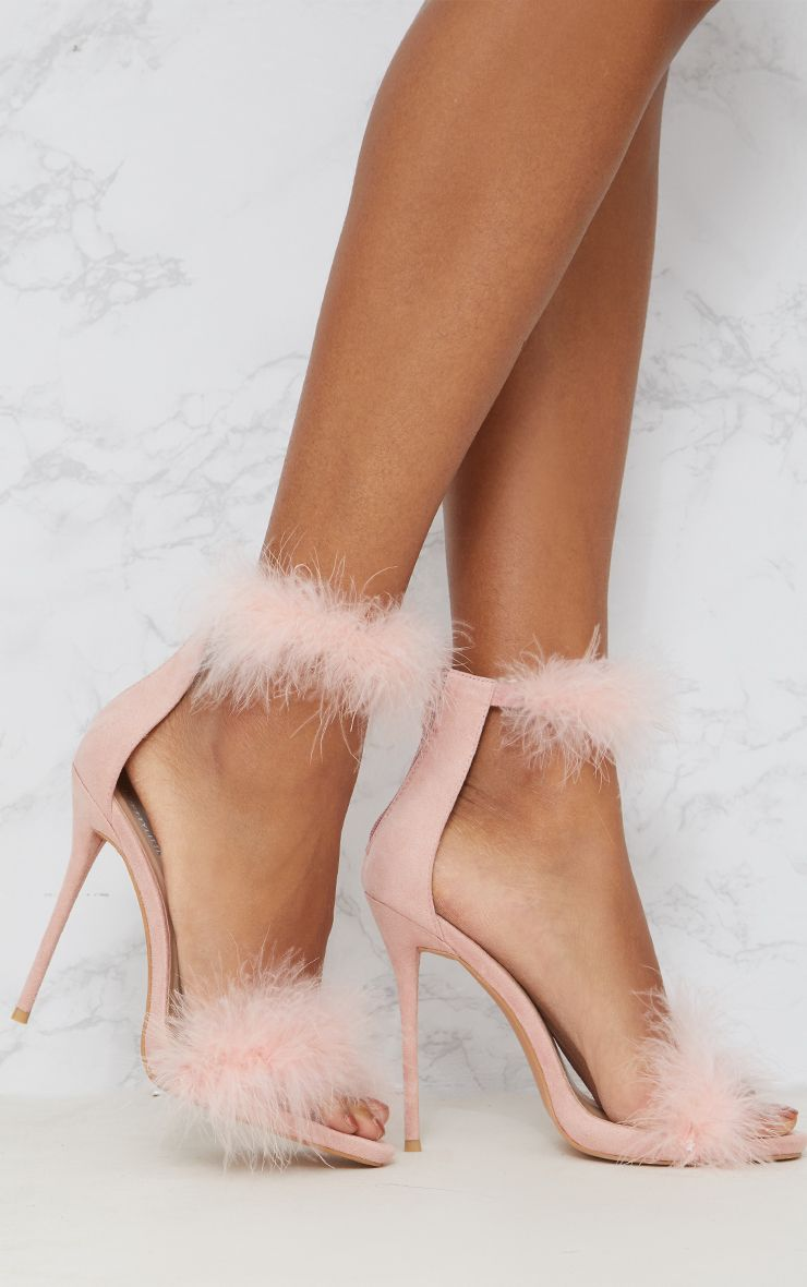 Pink Feather Strap Heels