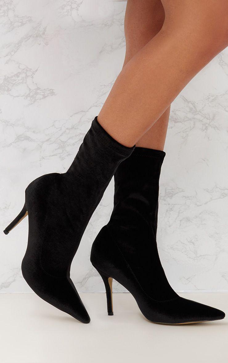 Black Velvet Pointy Sock Boots