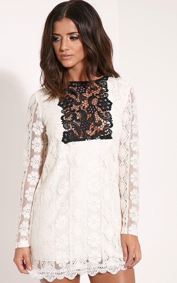 Polli Cream Lace Bib Swing Dress 1