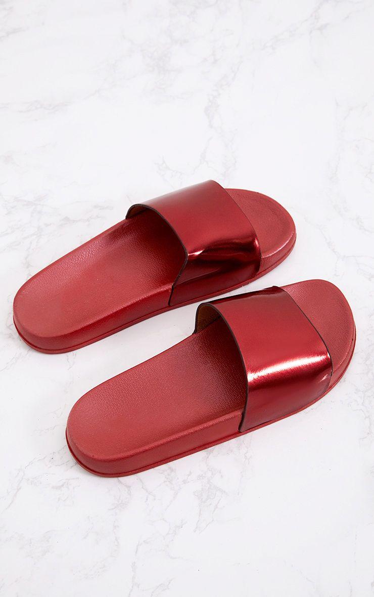 Mules métallisées rouges