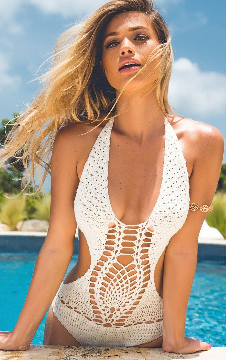 Aryah Cream Crochet Swimsuit