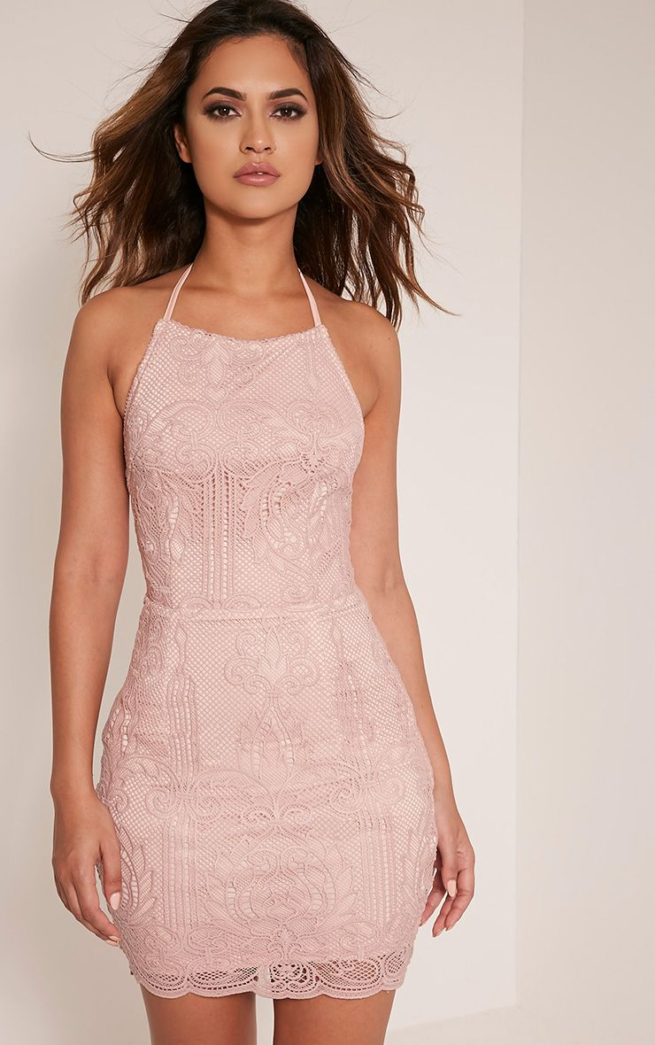 Sassia Dusty Pink Halterneck Strappy Back Lace Dress