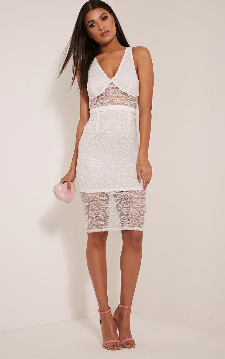 Kirstie White Sheer Lace Panel Insert Midi Dress
