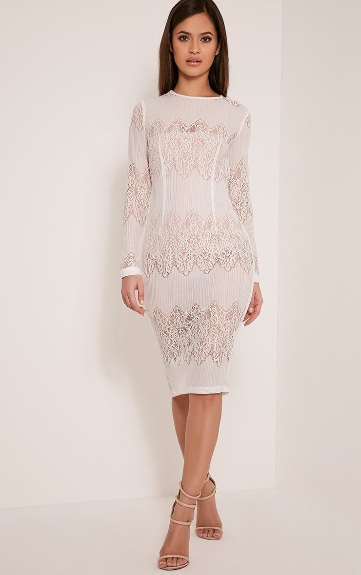 Lottey White Lace Panel Sheer Midi Dress