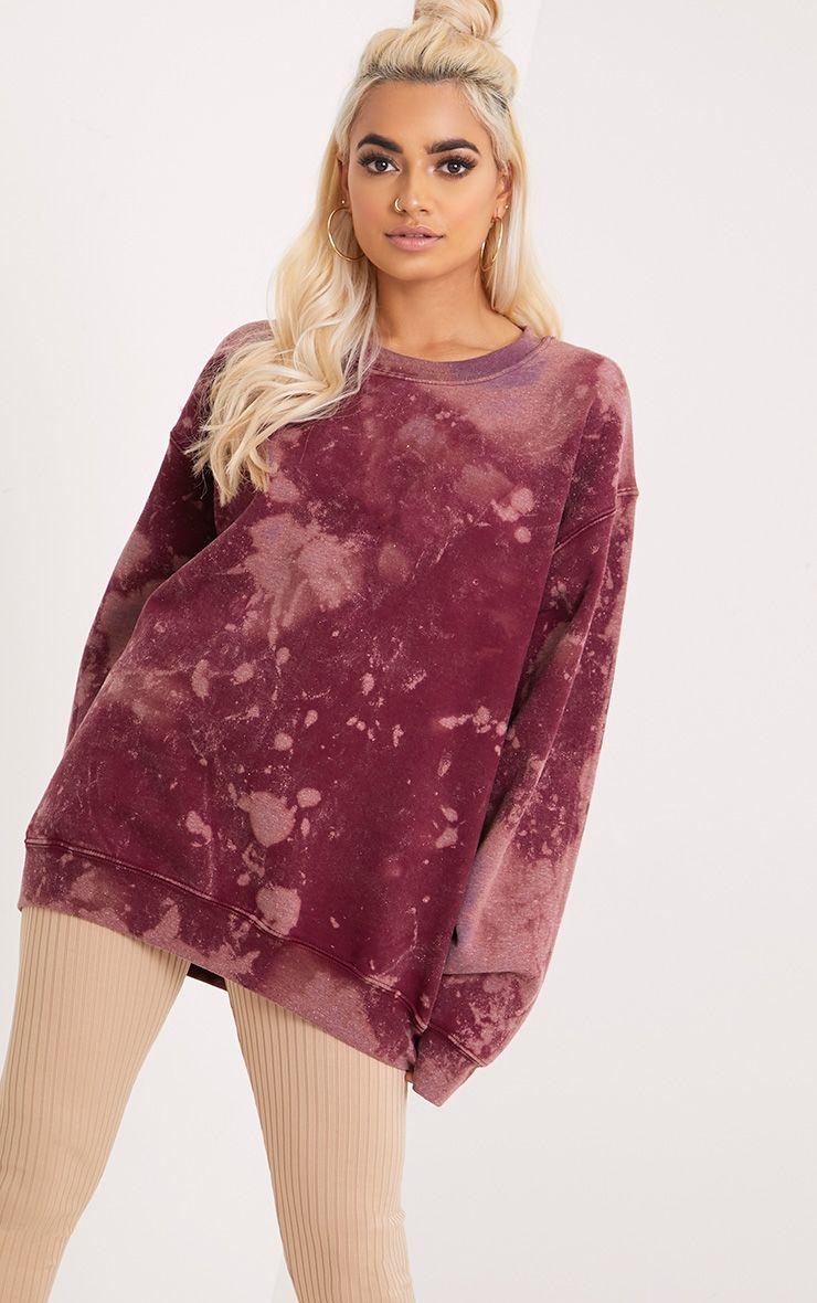 Wynta Burgundy Bleached Sweatshirt