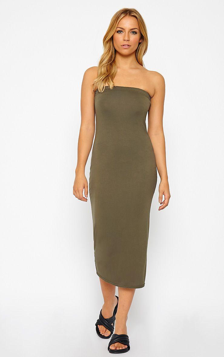 Basic Khaki Jersey Bandeau Midi Dress 1