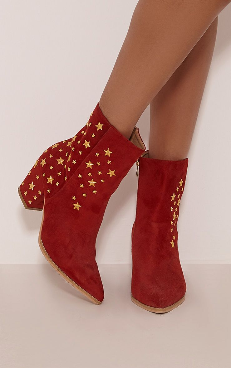 Arrabella Red Faux Suede Star Studded Ankle Boots 1