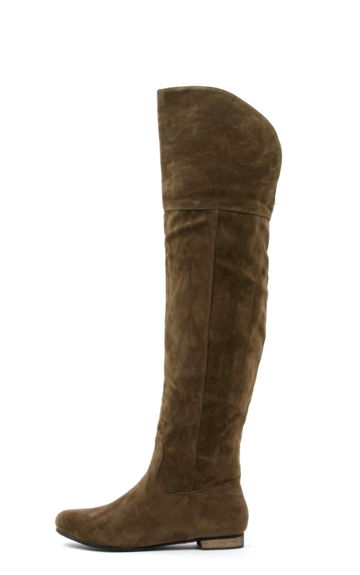 Albi Khaki High Leg Suedette Boot  1