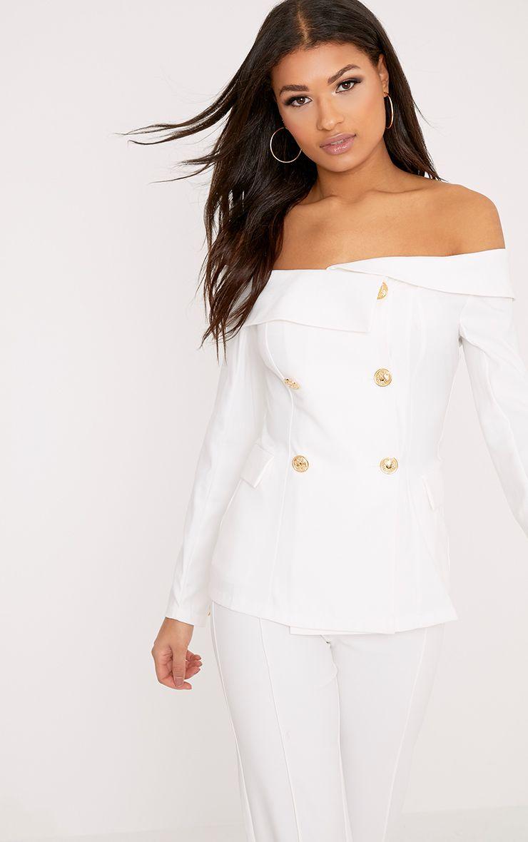Malani White Bardot Military Style Blazer