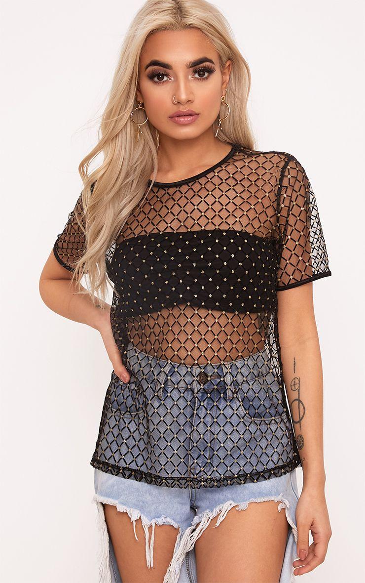 Black Glitter Mesh T Shirt