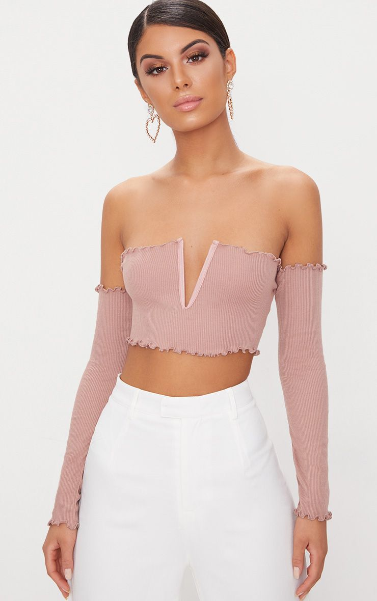 Rose Frill Edge V Bar Long Sleeve Crop Top