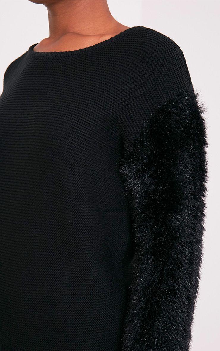 Rene pull tricoté fin à manches duveteuses noir 6