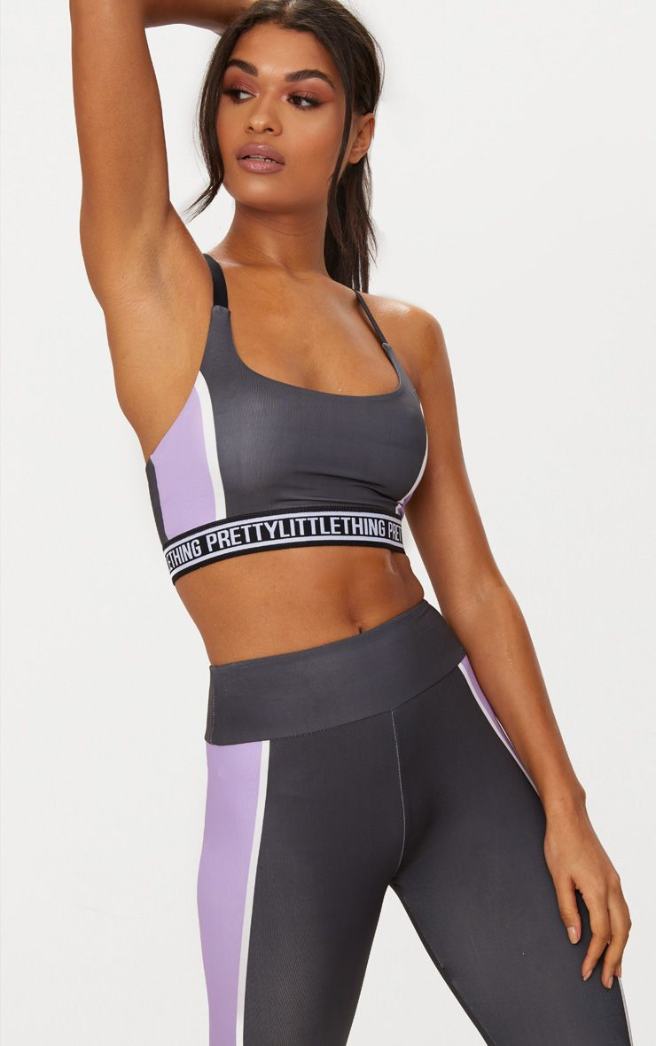 Charcoal Strappy Cross Back Crop Top with Lilac Panels